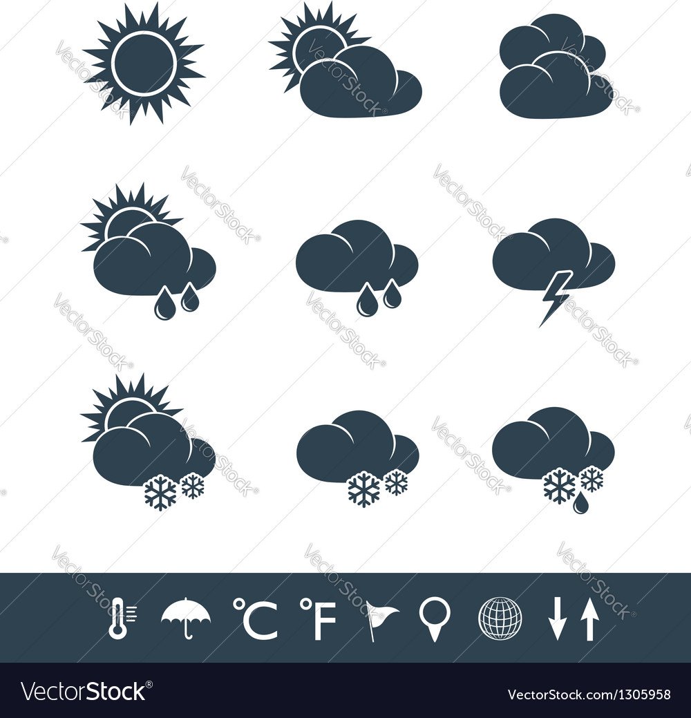 Weather icons black and white vector | Price:  Credit (USD $)