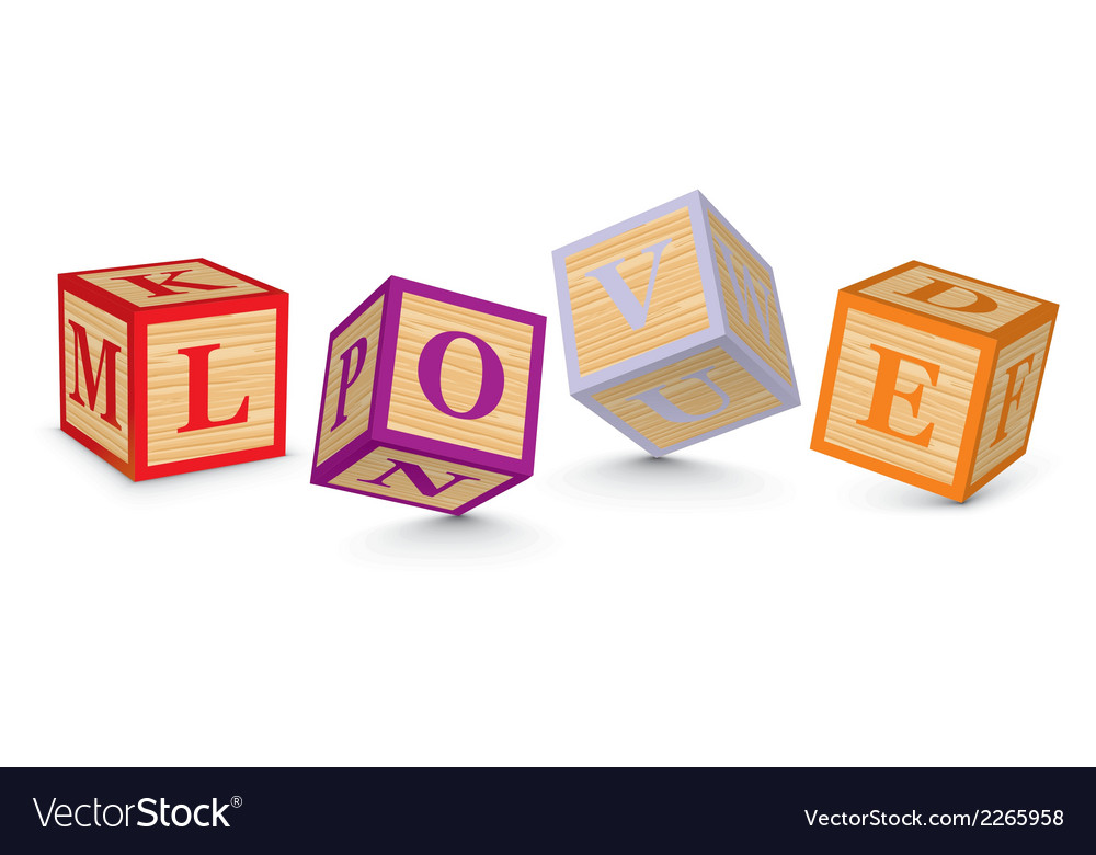 Word love written with alphabet blocks vector | Price: 1 Credit (USD $1)