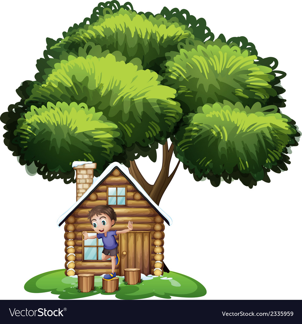 A boy playing outside the house under the tree vector | Price: 3 Credit (USD $3)