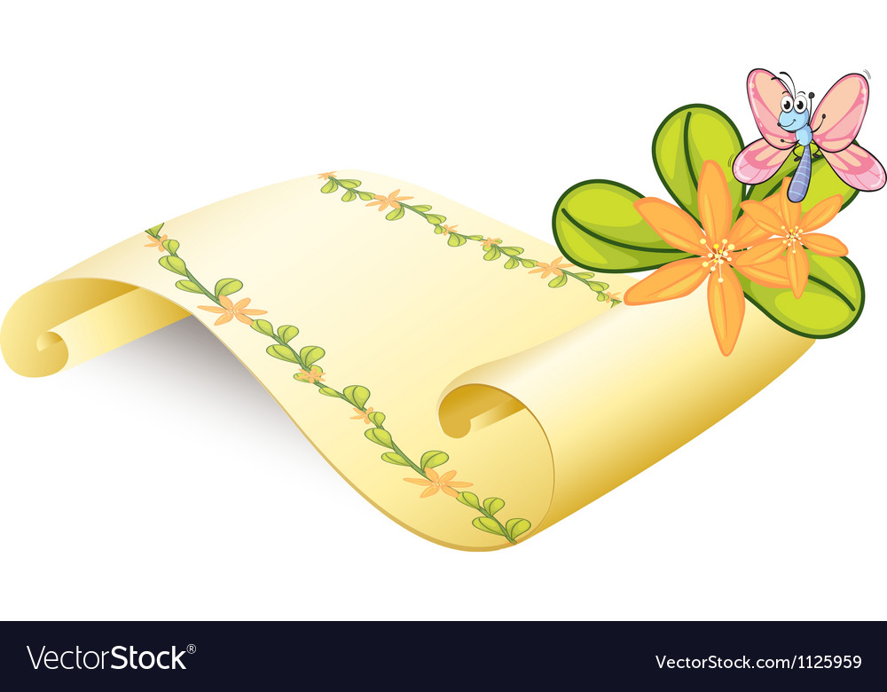 A butterfly and a scroll vector   Price: 1 Credit (USD $1)