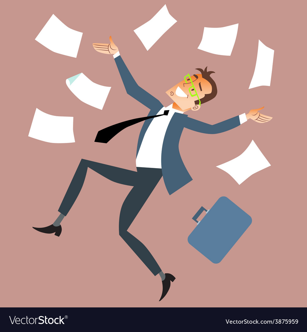 Businessman throws paper vector | Price: 1 Credit (USD $1)