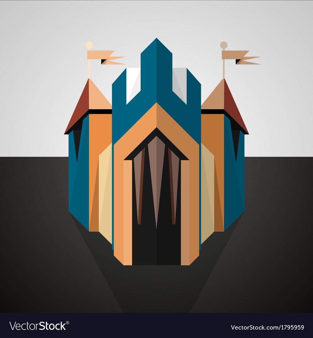 Cartoon castle drawn in perspective icon vector | Price: 1 Credit (USD $1)