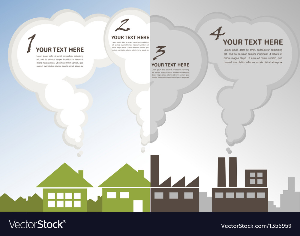 Factory pollution vs green city enviroment vector | Price: 1 Credit (USD $1)