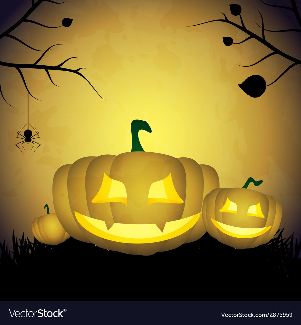 Halloween background with pumpkins and spider vector | Price: 1 Credit (USD $1)
