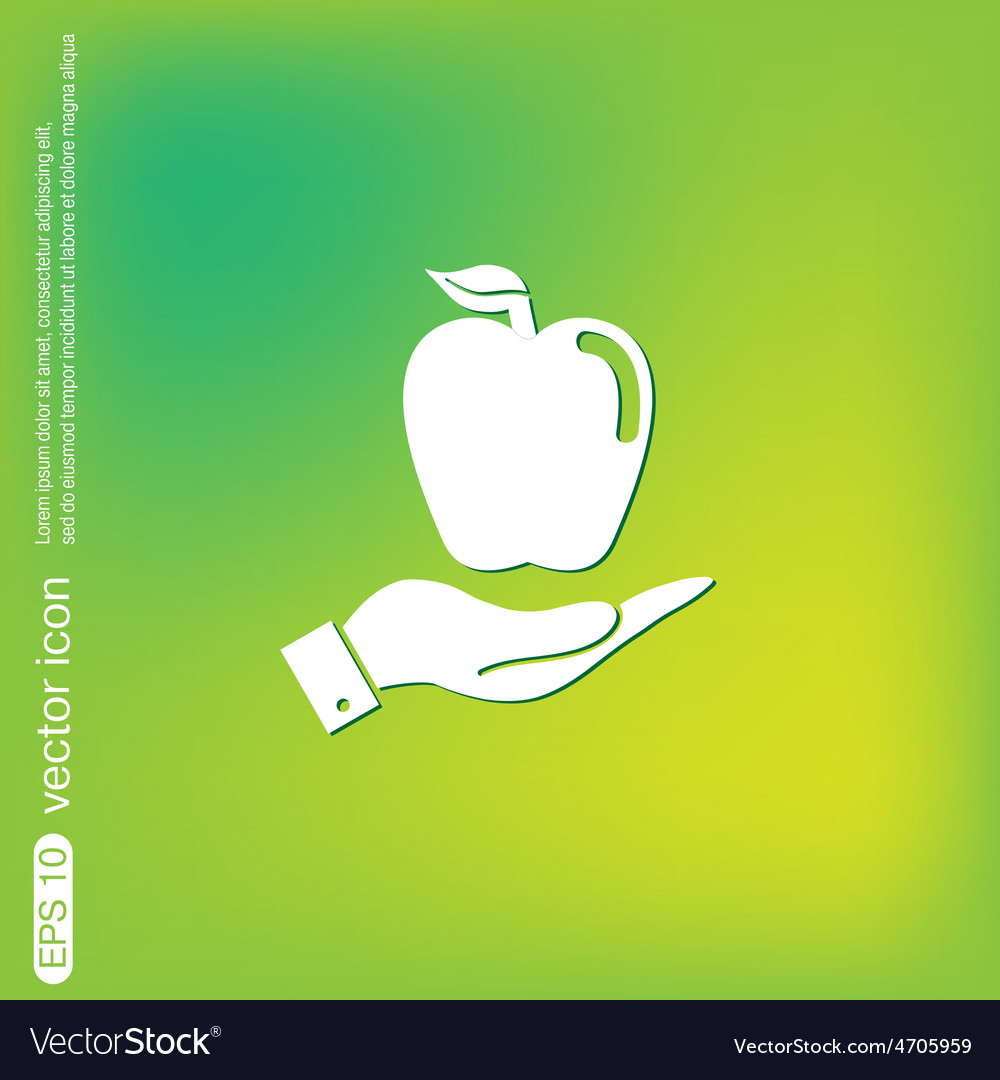 Hand holding apple vector | Price: 1 Credit (USD $1)