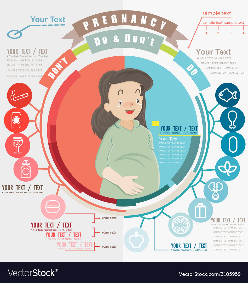 Pregnancy do and dont infographics and icon set vector | Price: 3 Credit (USD $3)