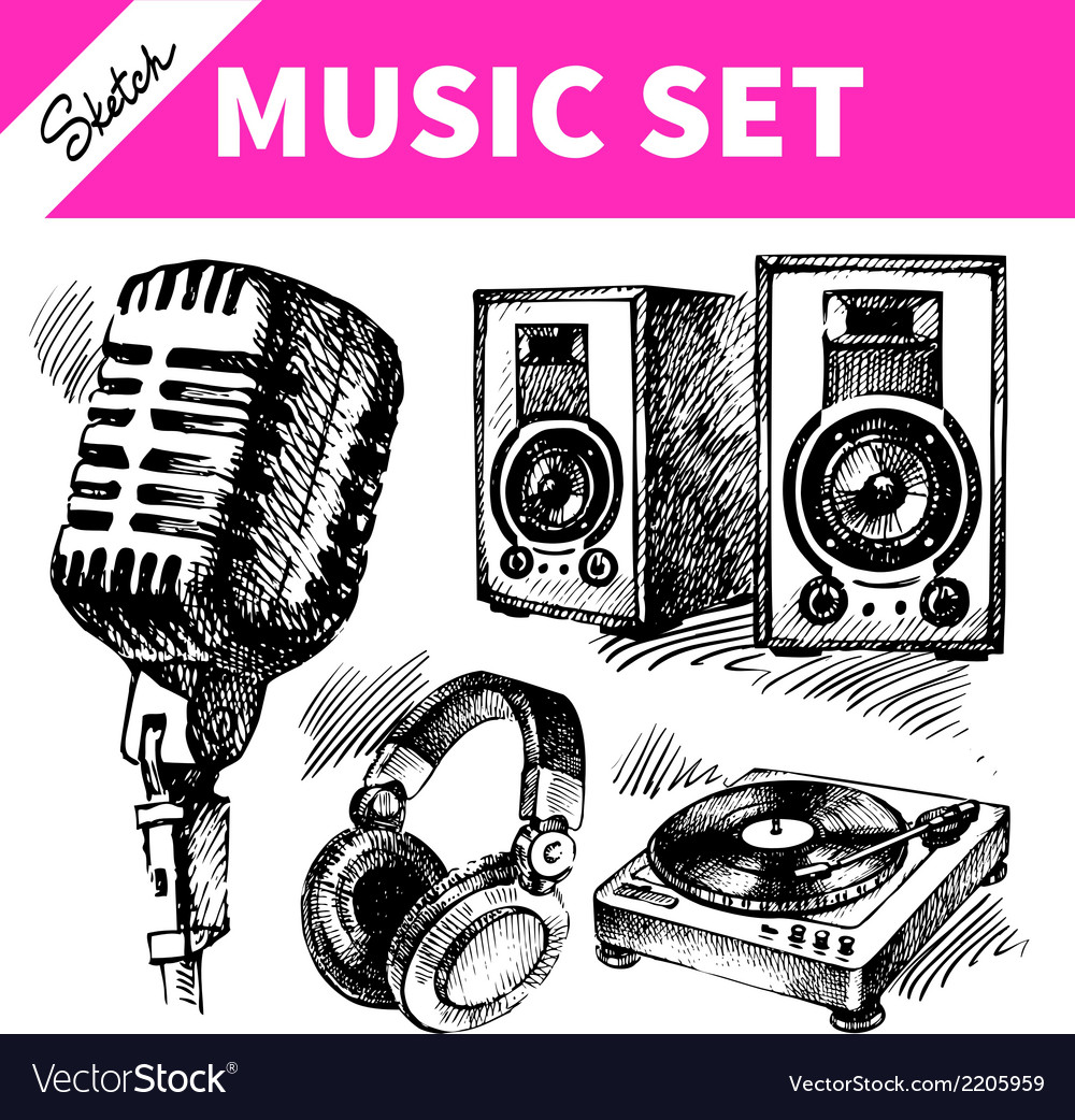Sketch music set vector | Price: 1 Credit (USD $1)
