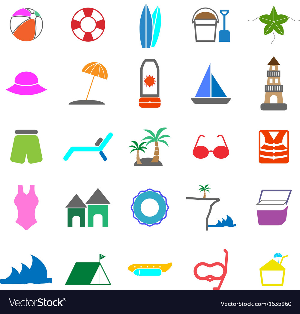 Beach color icons on white background vector | Price: 1 Credit (USD $1)