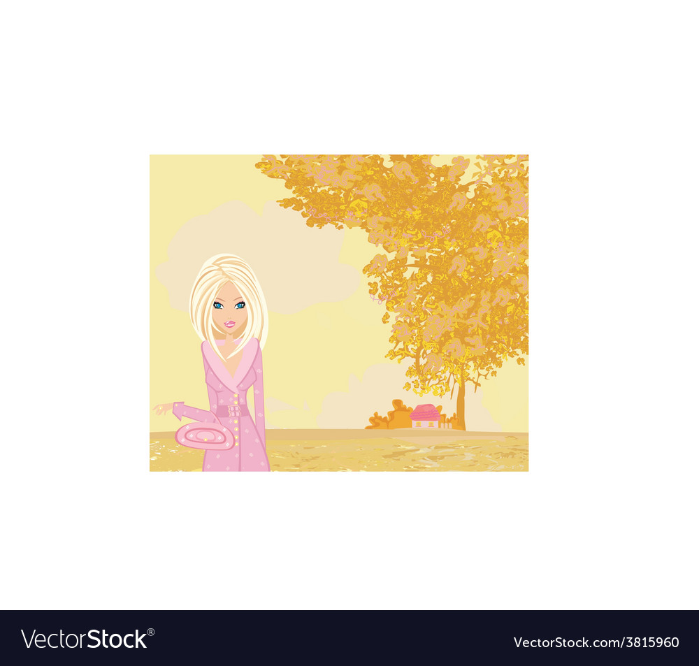 Beautiful girl in autumn park vector | Price: 1 Credit (USD $1)