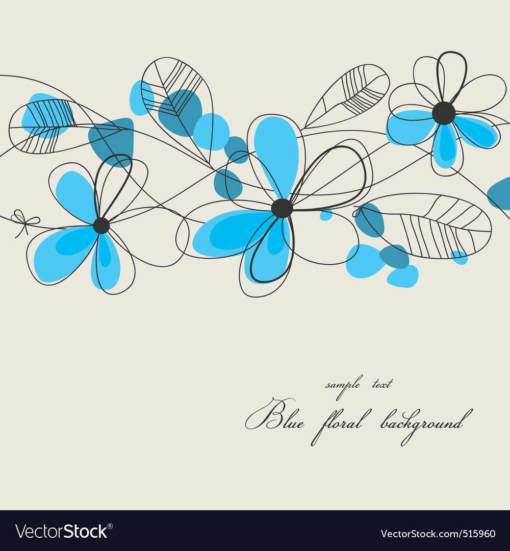 Blue floral background vector | Price: 1 Credit (USD $1)