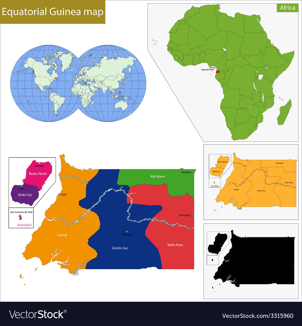 Equatorial guinea map vector | Price: 1 Credit (USD $1)