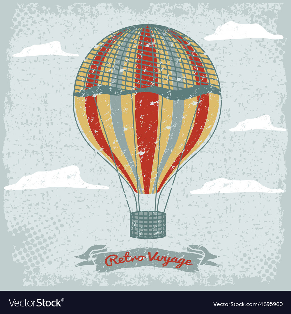 Grunge vintage hot air balloon in the sky with vector | Price: 1 Credit (USD $1)