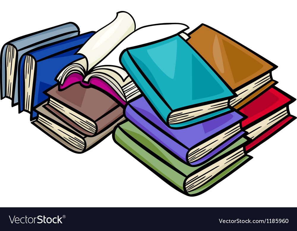 Heap of books cartoon vector | Price: 1 Credit (USD $1)