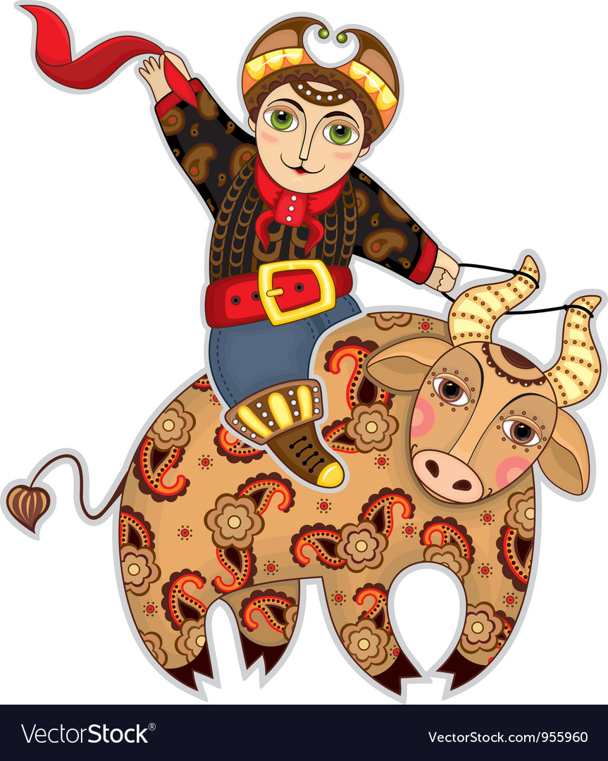 Man bull rodeo isolated vector | Price: 3 Credit (USD $3)