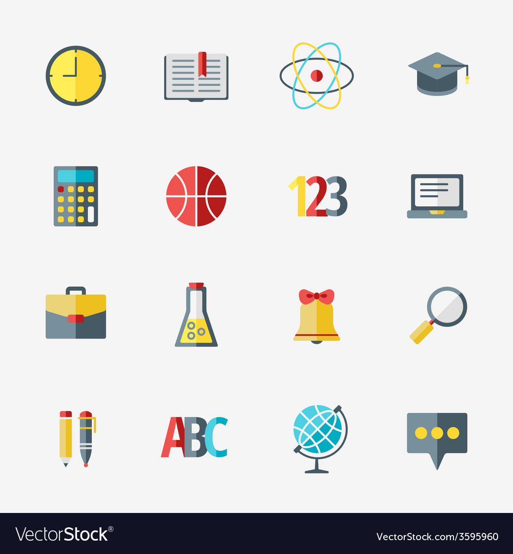 School and education icons set in flat design vector | Price: 1 Credit (USD $1)