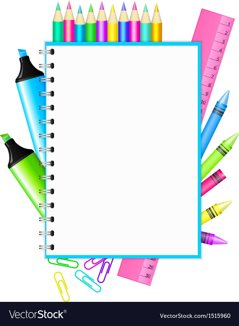 School frame with colorful stationery vector | Price: 1 Credit (USD $1)