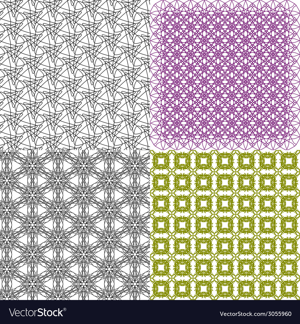 Set of 4 monochrome elegant patterns ornaments may vector   Price: 1 Credit (USD $1)