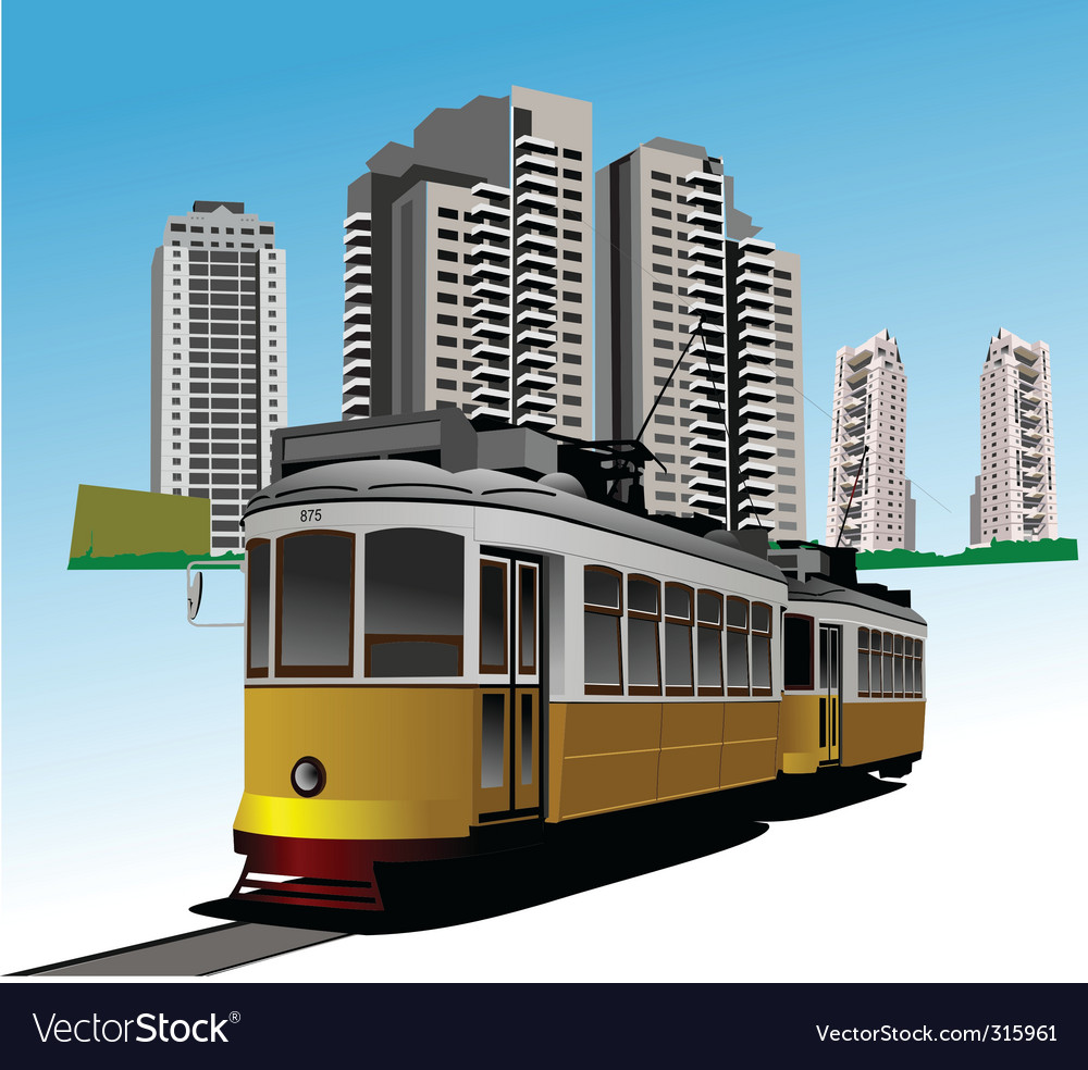City and tram vector | Price: 3 Credit (USD $3)