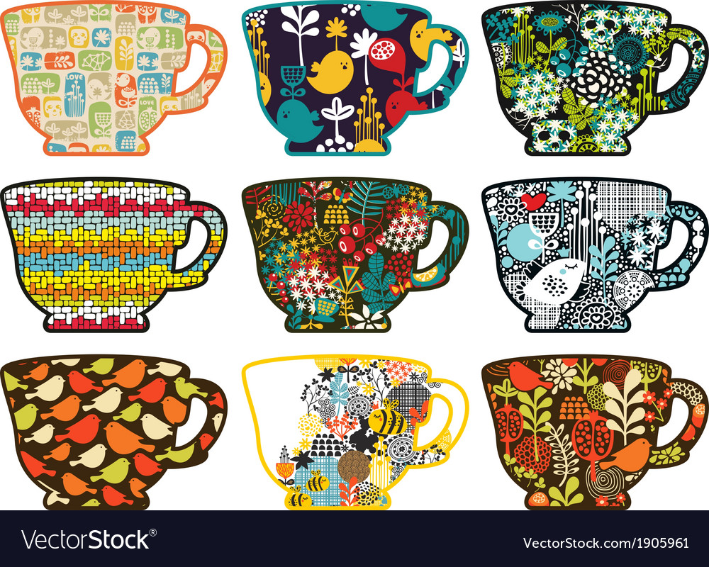 Collection of tea cups with different patterns vector | Price: 1 Credit (USD $1)