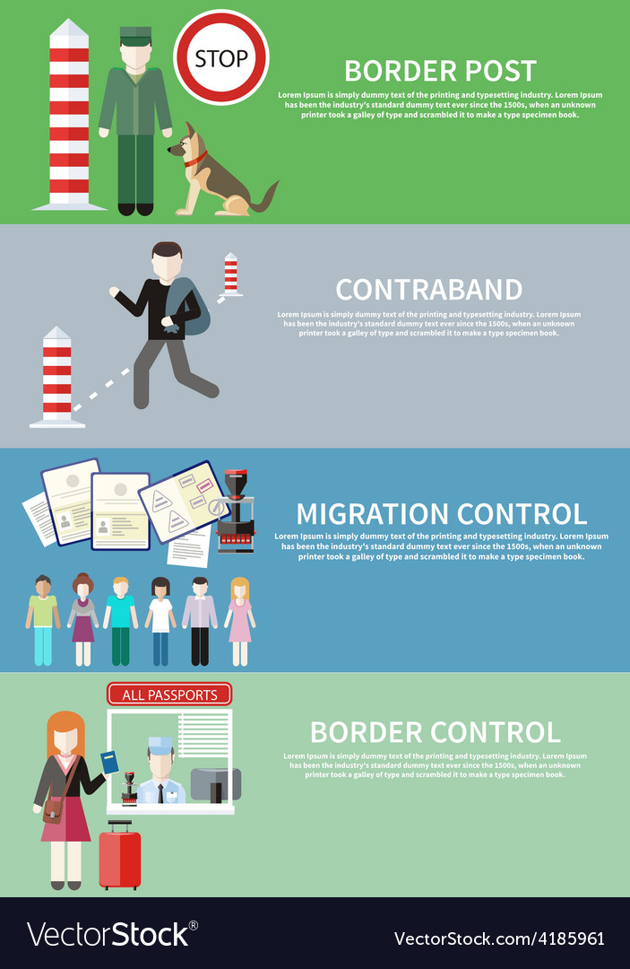 Contraband border control post and migration vector | Price: 1 Credit (USD $1)
