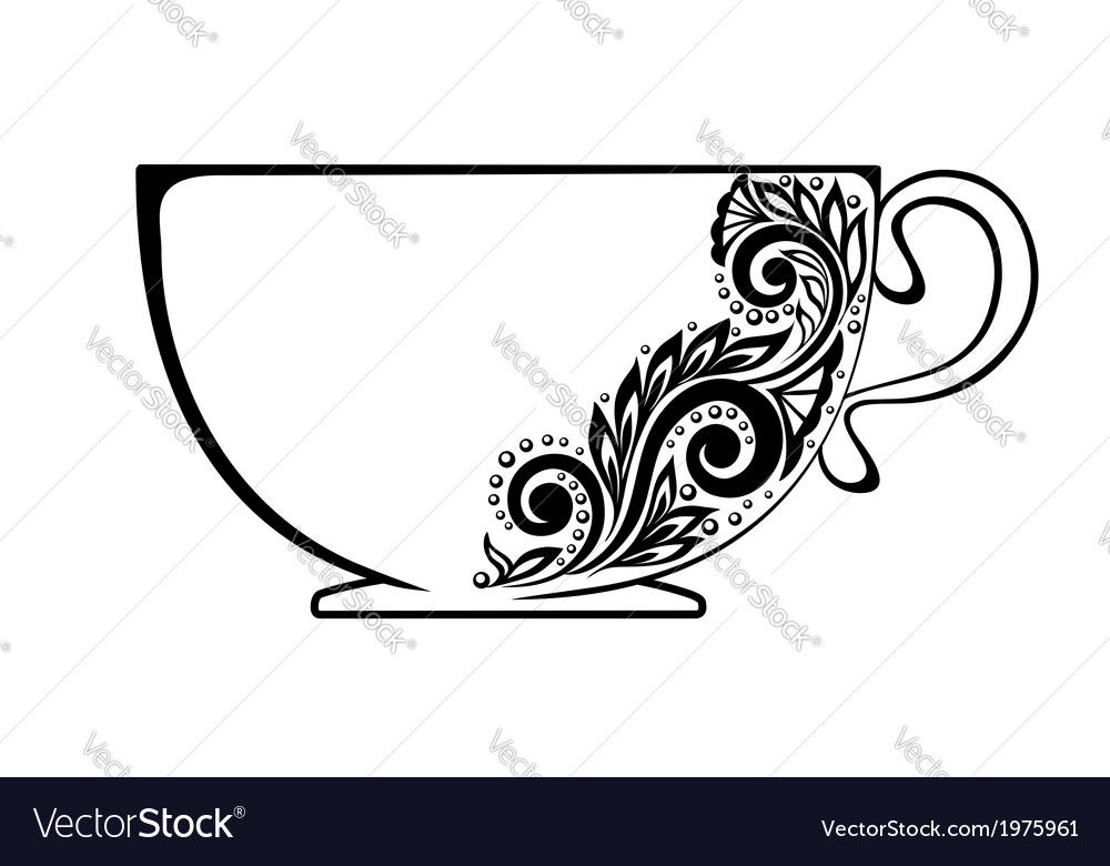 Cup decorated with black and white floral ornament vector | Price: 1 Credit (USD $1)