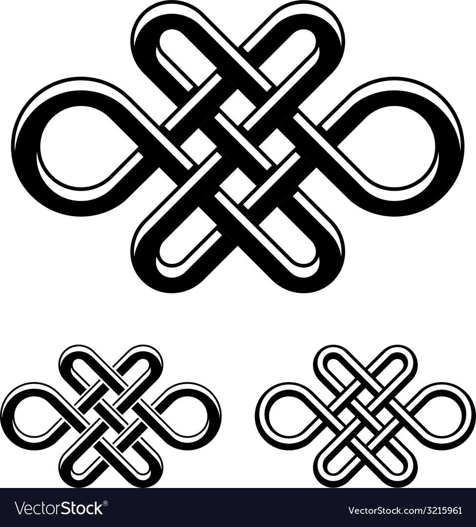 Endless celtic knot black white symbol vector | Price: 1 Credit (USD $1)
