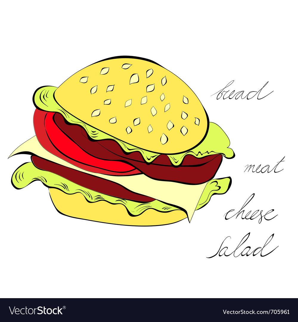 Hamburger isolated on white background vector | Price: 1 Credit (USD $1)