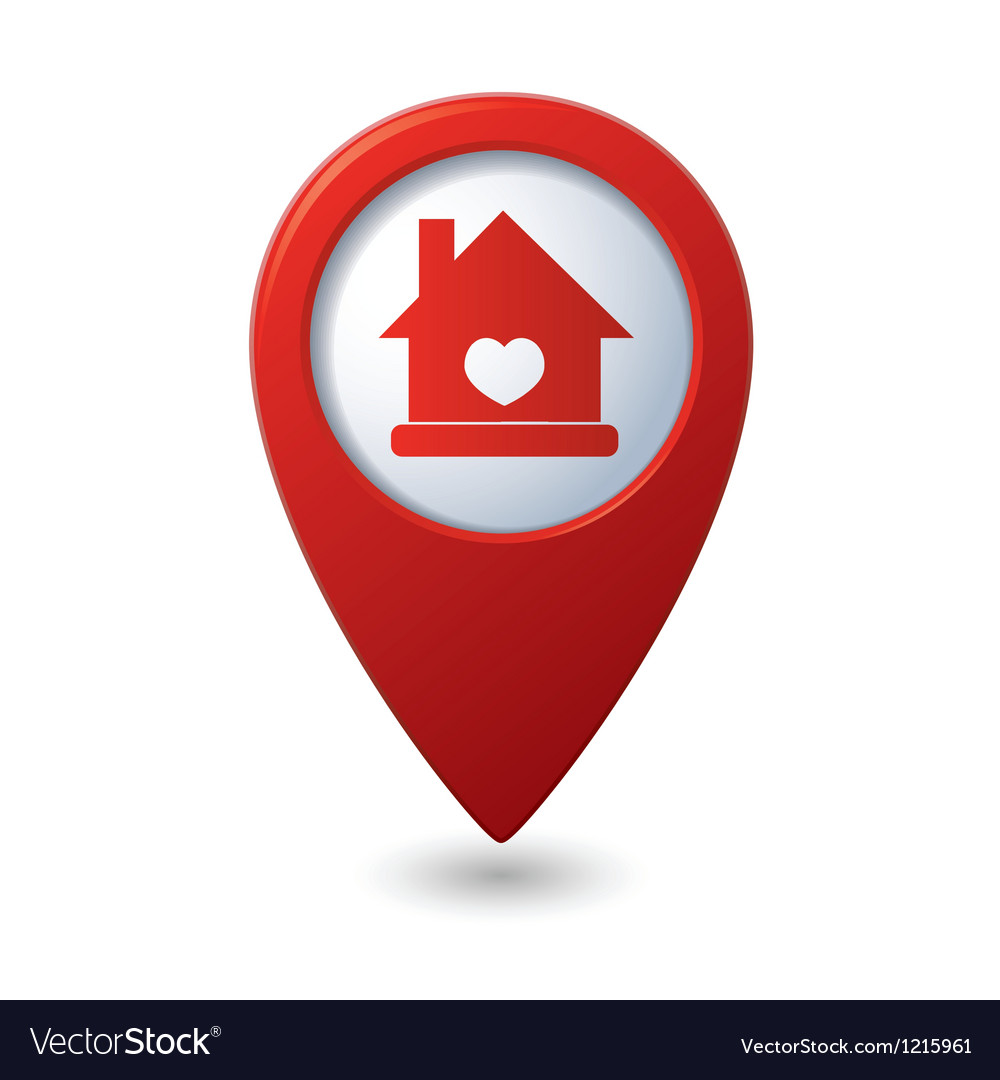 Home icon with heart icon on the red map pointer vector | Price: 1 Credit (USD $1)