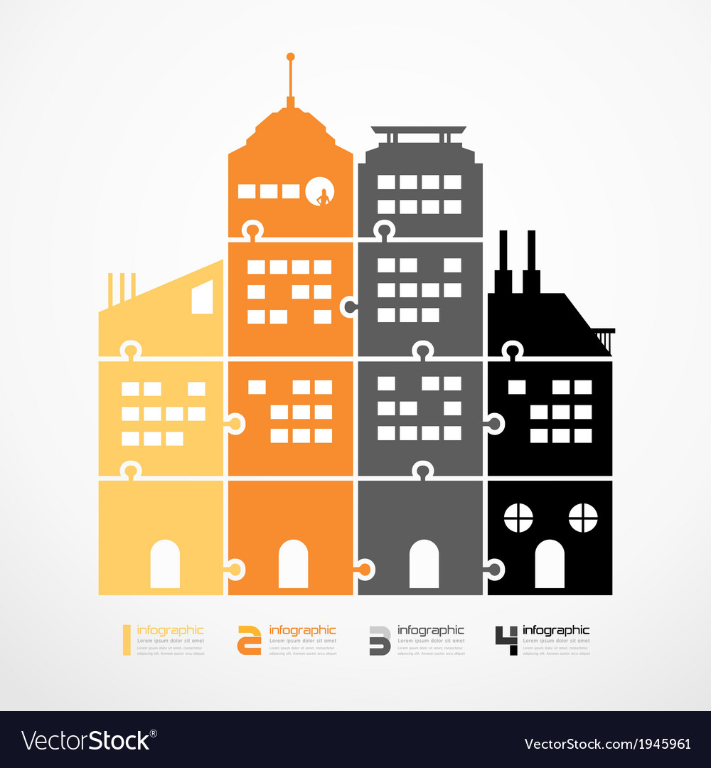 Infographic template city tower jigsaw banner vector | Price: 1 Credit (USD $1)