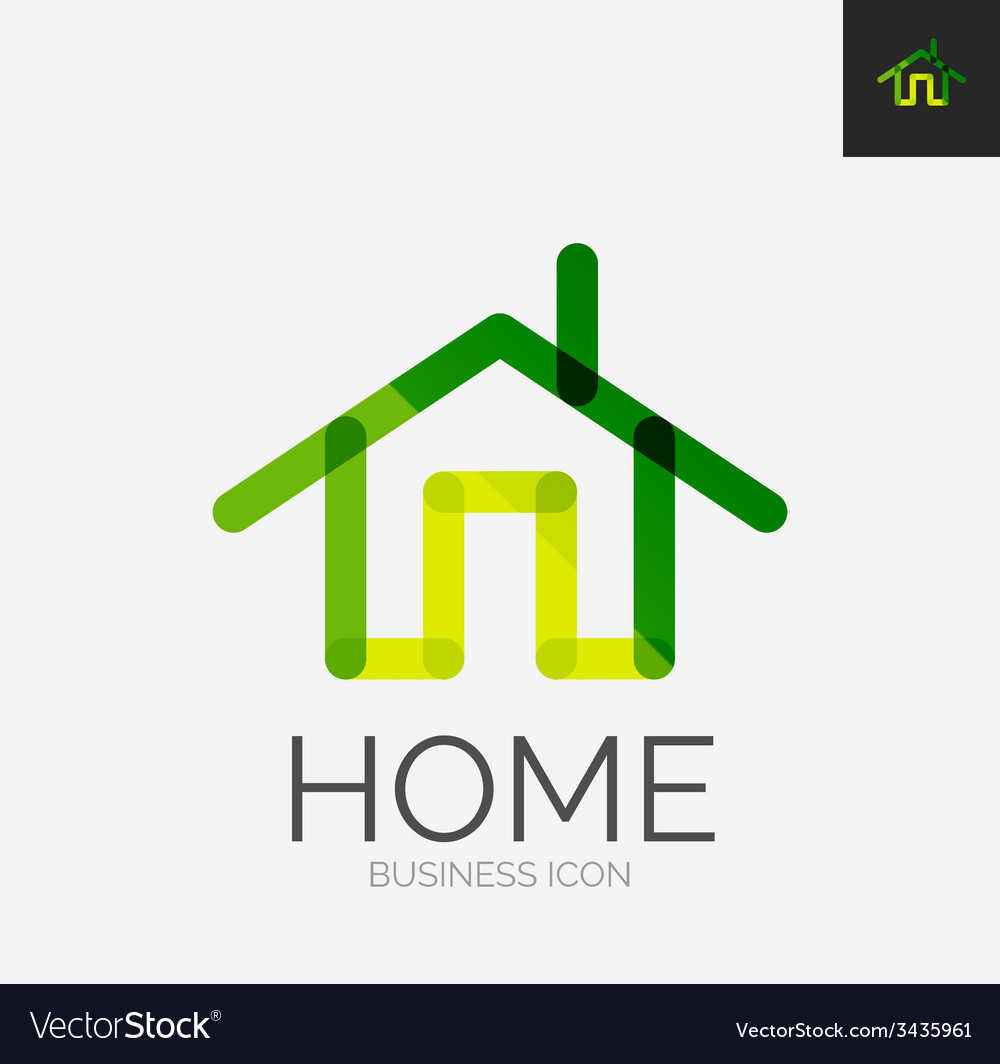 Minimal line design logo home icon vector | Price: 1 Credit (USD $1)
