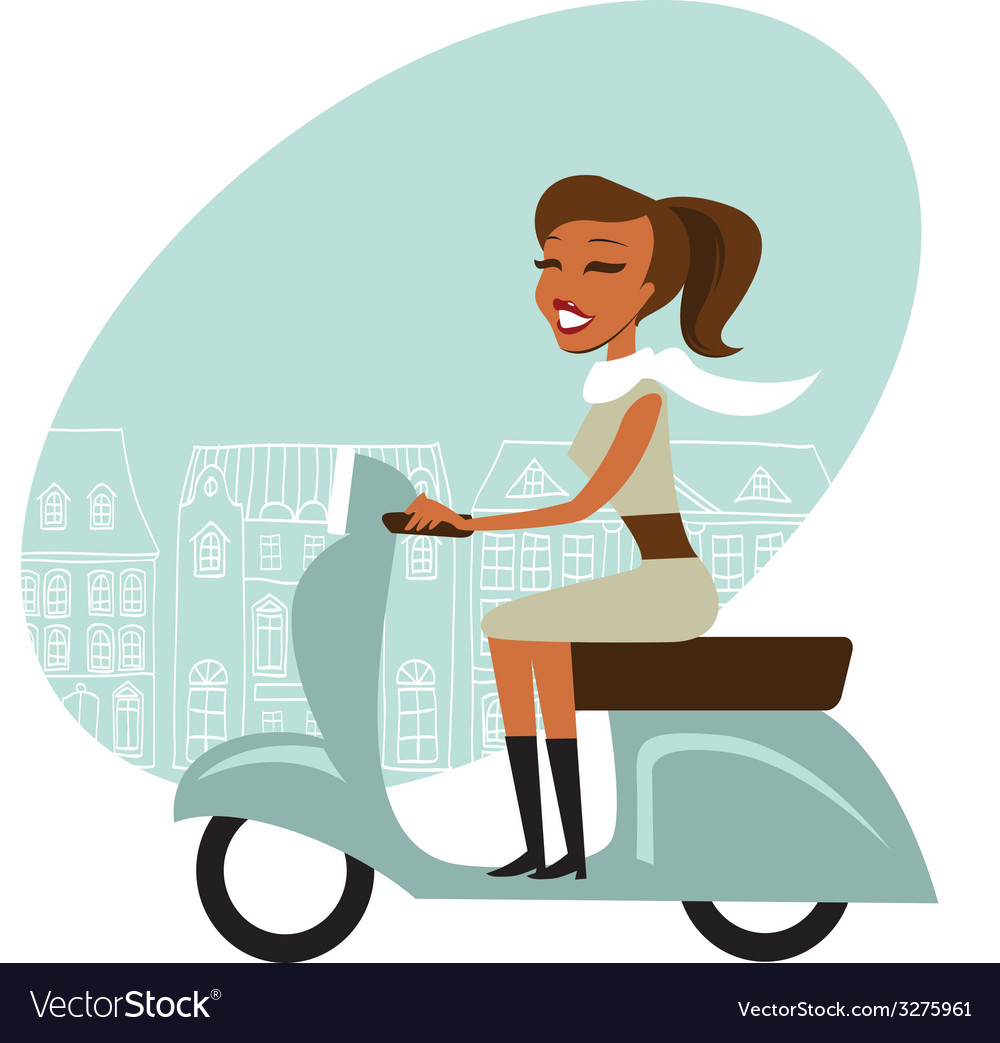 Scooter girl vector | Price: 1 Credit (USD $1)