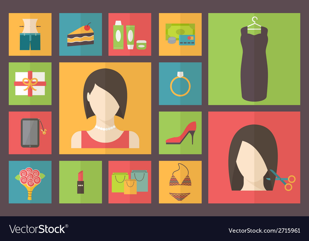 Set of flat design beauty concept icons woman vector | Price: 1 Credit (USD $1)