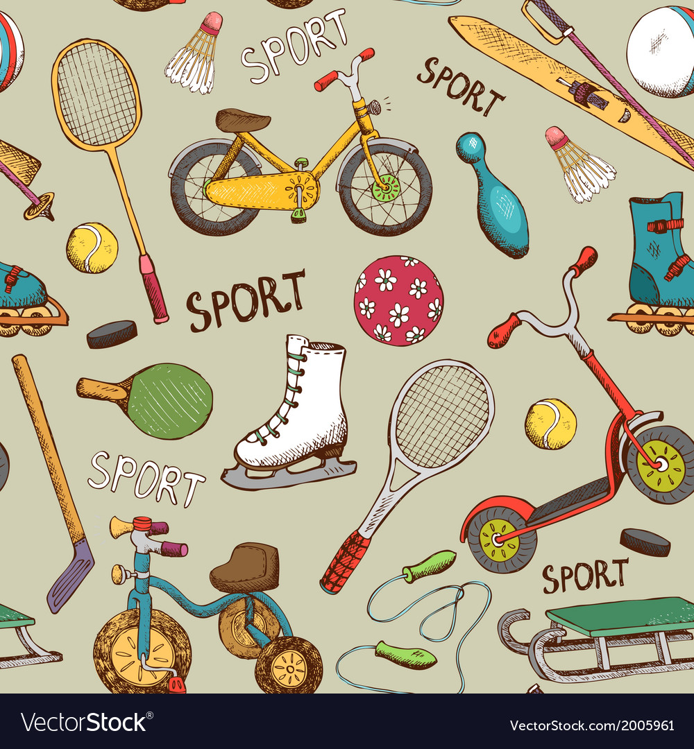 Sports and action games pattern vector | Price: 1 Credit (USD $1)
