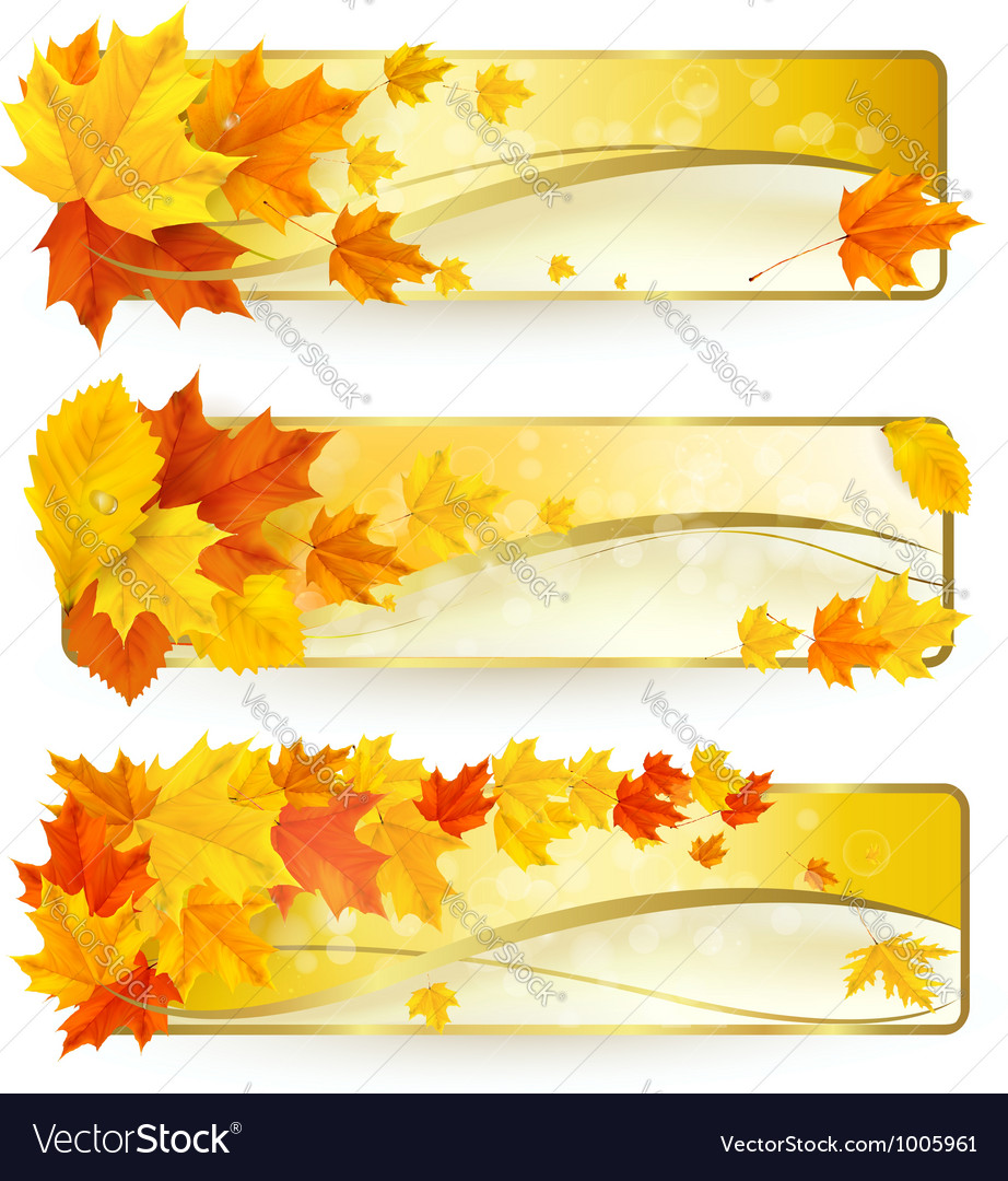 Three autumn banners with colorful leaves in vector | Price: 1 Credit (USD $1)