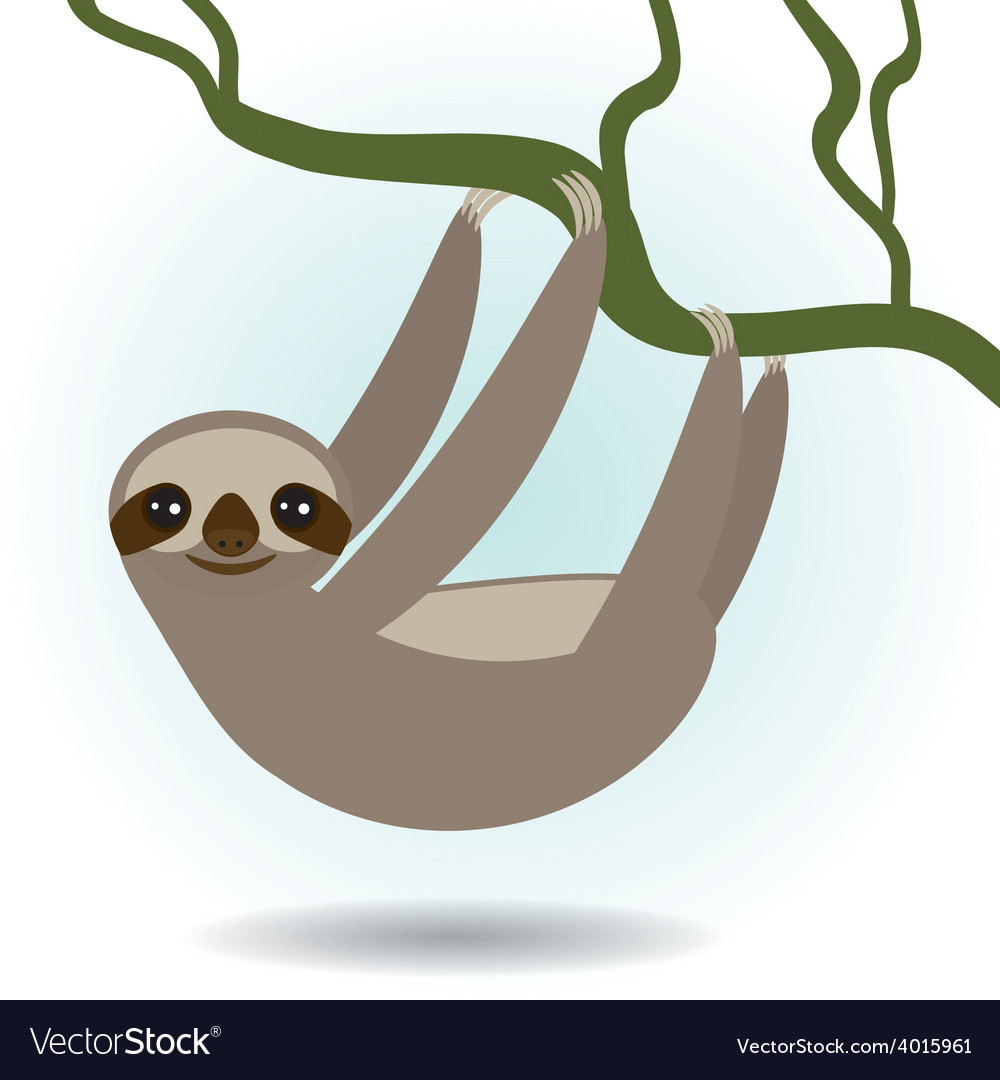 Three-toed sloth on green branch on white vector | Price: 1 Credit (USD $1)