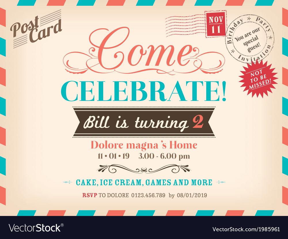 Vintage birthday card design vector   Price: 1 Credit (USD $1)