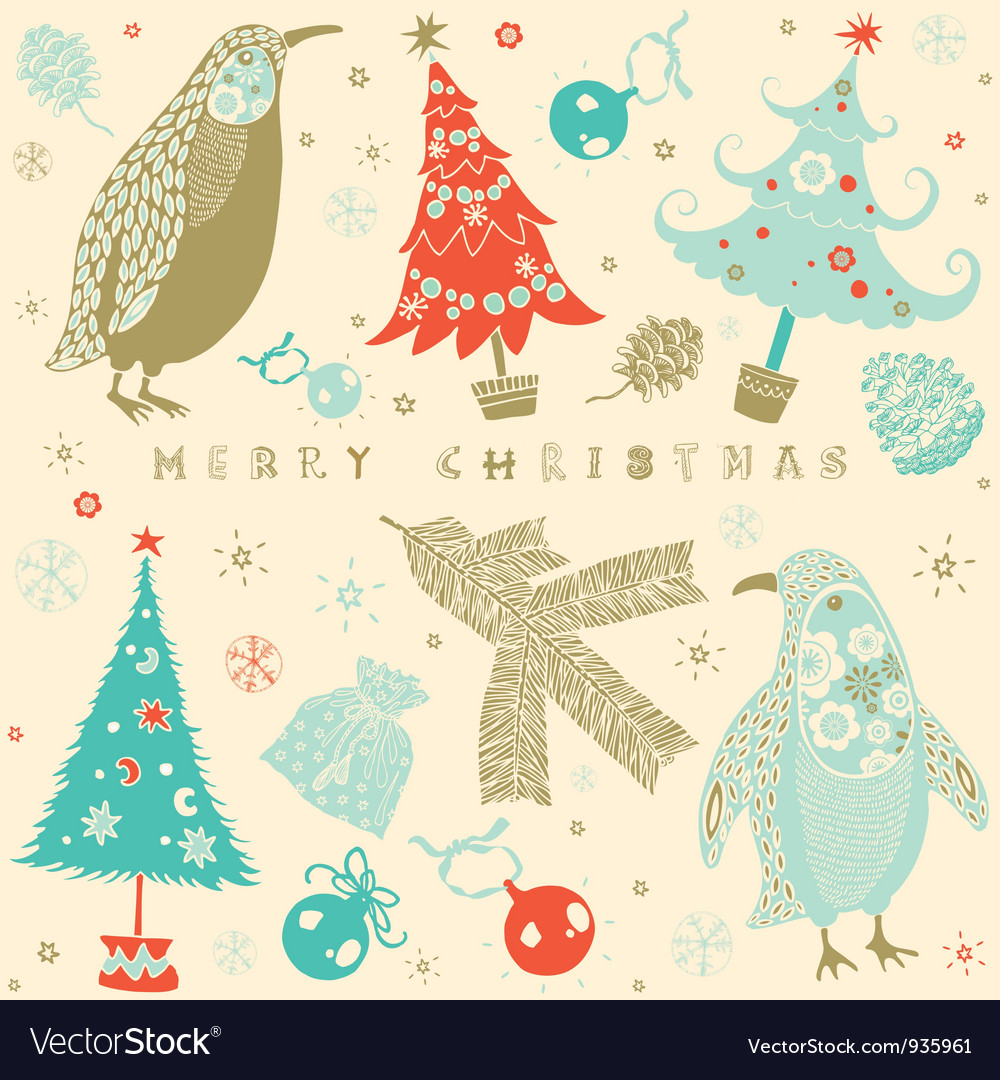 Vintage christmas card pattern vector | Price: 1 Credit (USD $1)