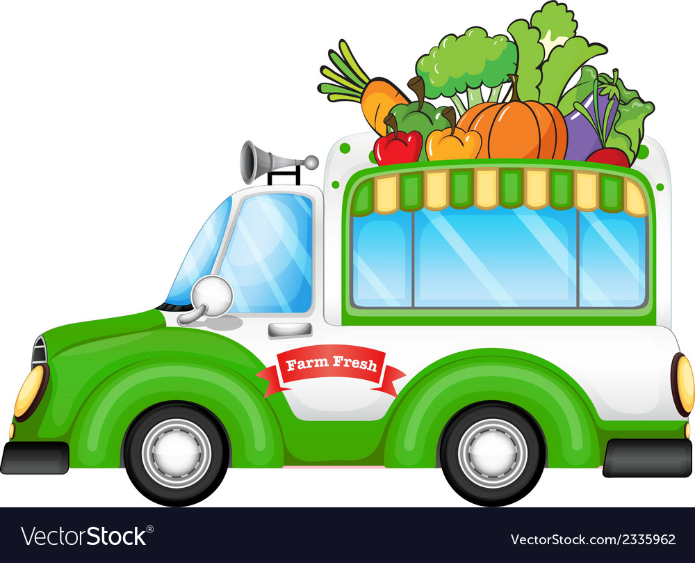 A vehicle selling fresh vegetables vector | Price: 1 Credit (USD $1)