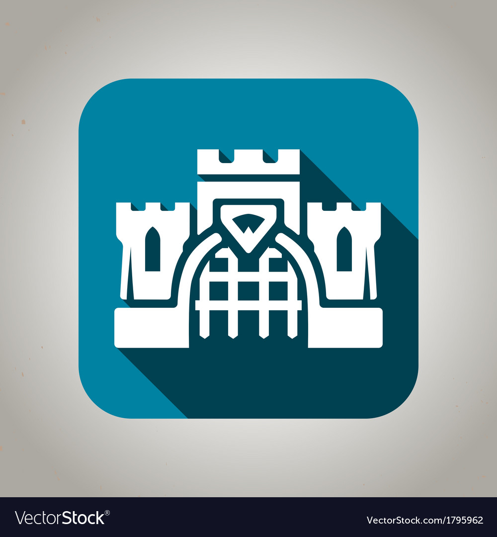 Blue flat castle icon for web and mobile vector | Price: 1 Credit (USD $1)