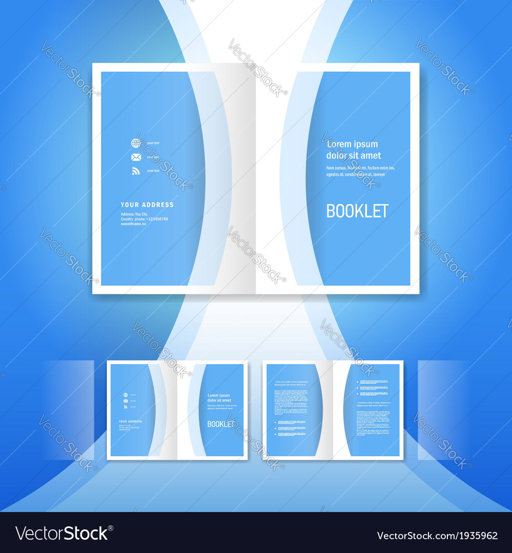 Booklet design template blue curve bend line vector | Price: 1 Credit (USD $1)