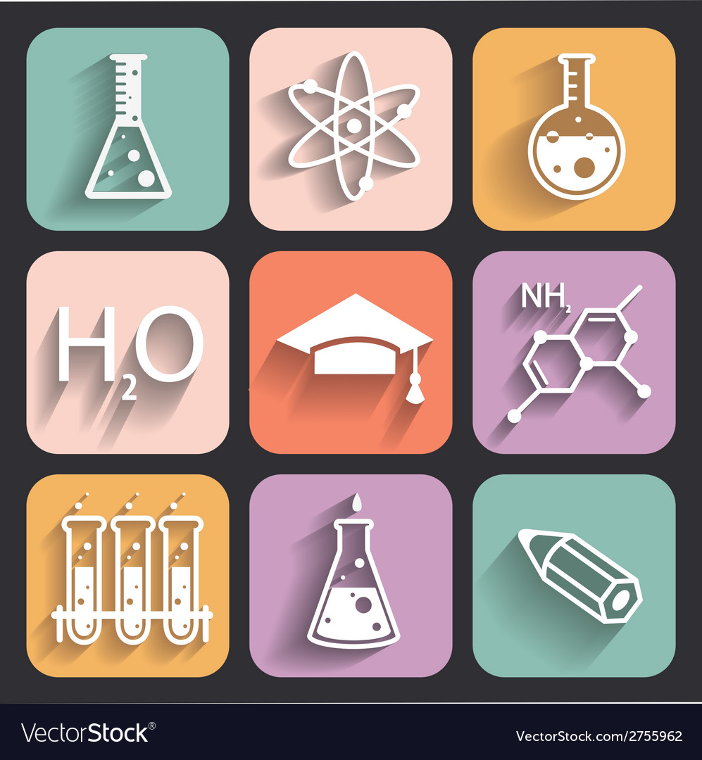 Colored chemistry icons for learning and web appl vector | Price: 1 Credit (USD $1)