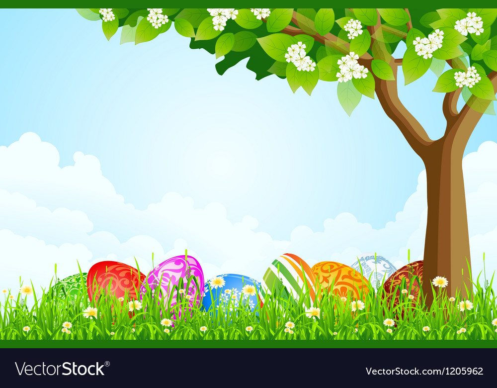 Green tree background with easter eggs vector | Price: 1 Credit (USD $1)