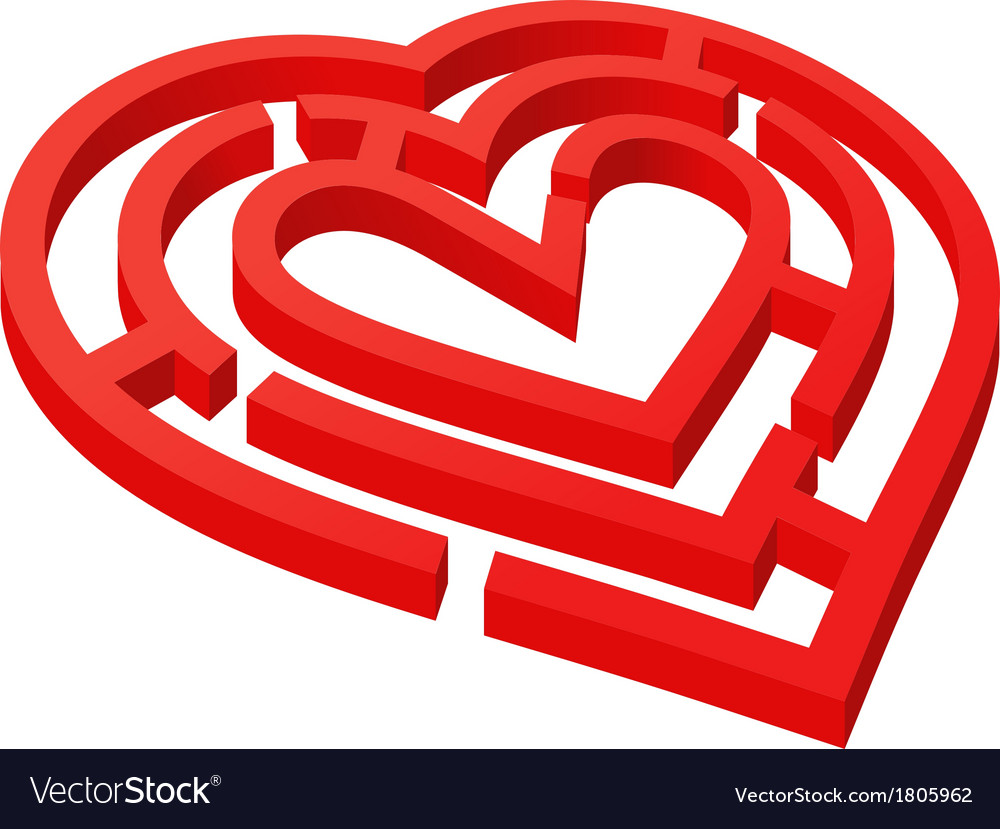 Heart shaped labyrinth vector | Price: 1 Credit (USD $1)