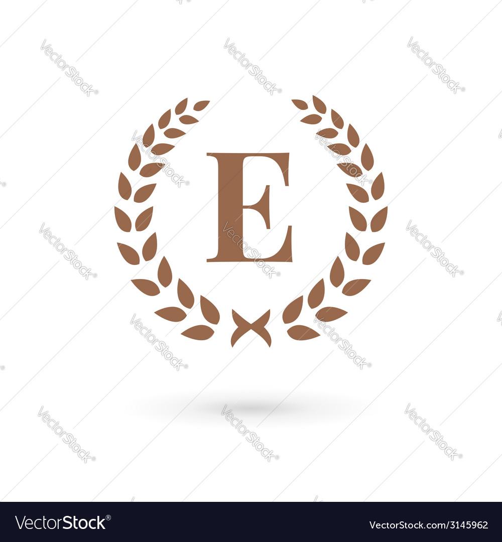 Letter e laurel wreath logo icon vector | Price: 1 Credit (USD $1)