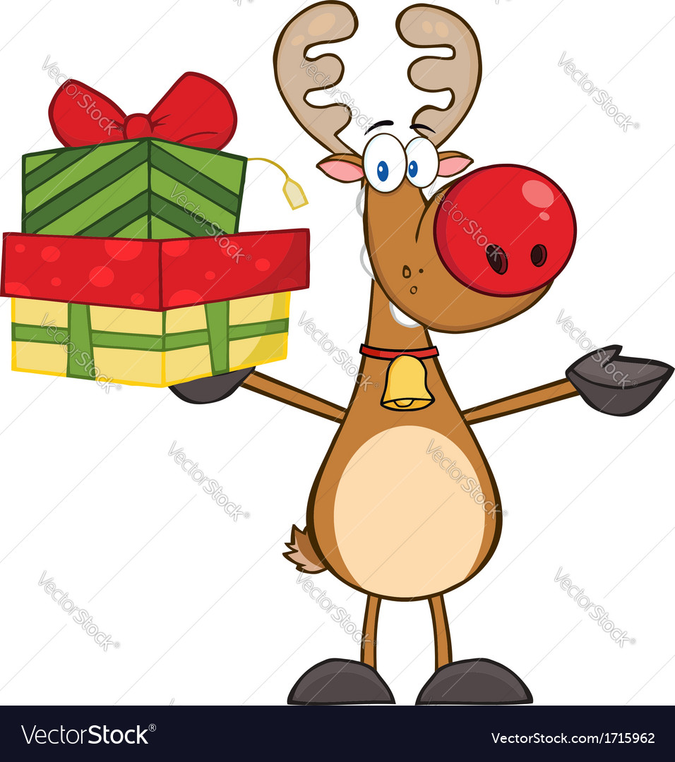 Reindeer christmas cartoon vector