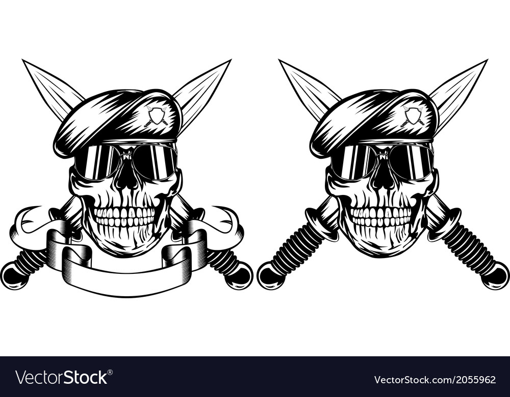 Skull in beret and daggers vector | Price: 1 Credit (USD $1)