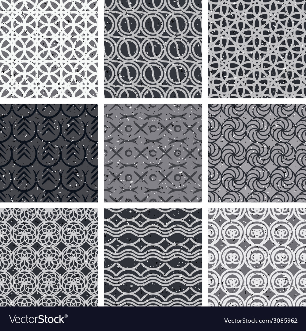 Vintage tiles seamless patterns set vector | Price: 1 Credit (USD $1)