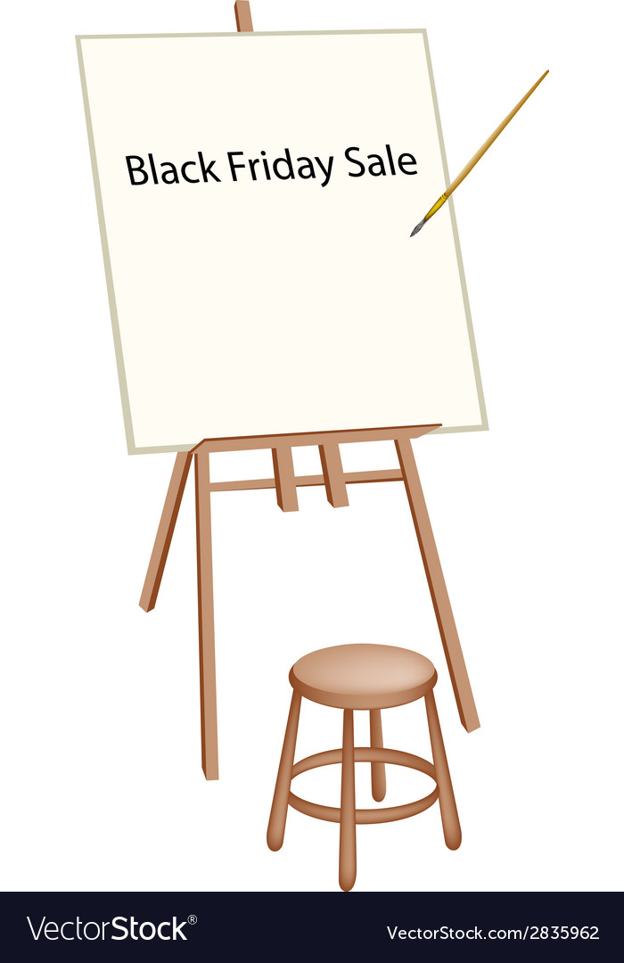 Wooden artist easel with word black friday sale vector | Price: 1 Credit (USD $1)