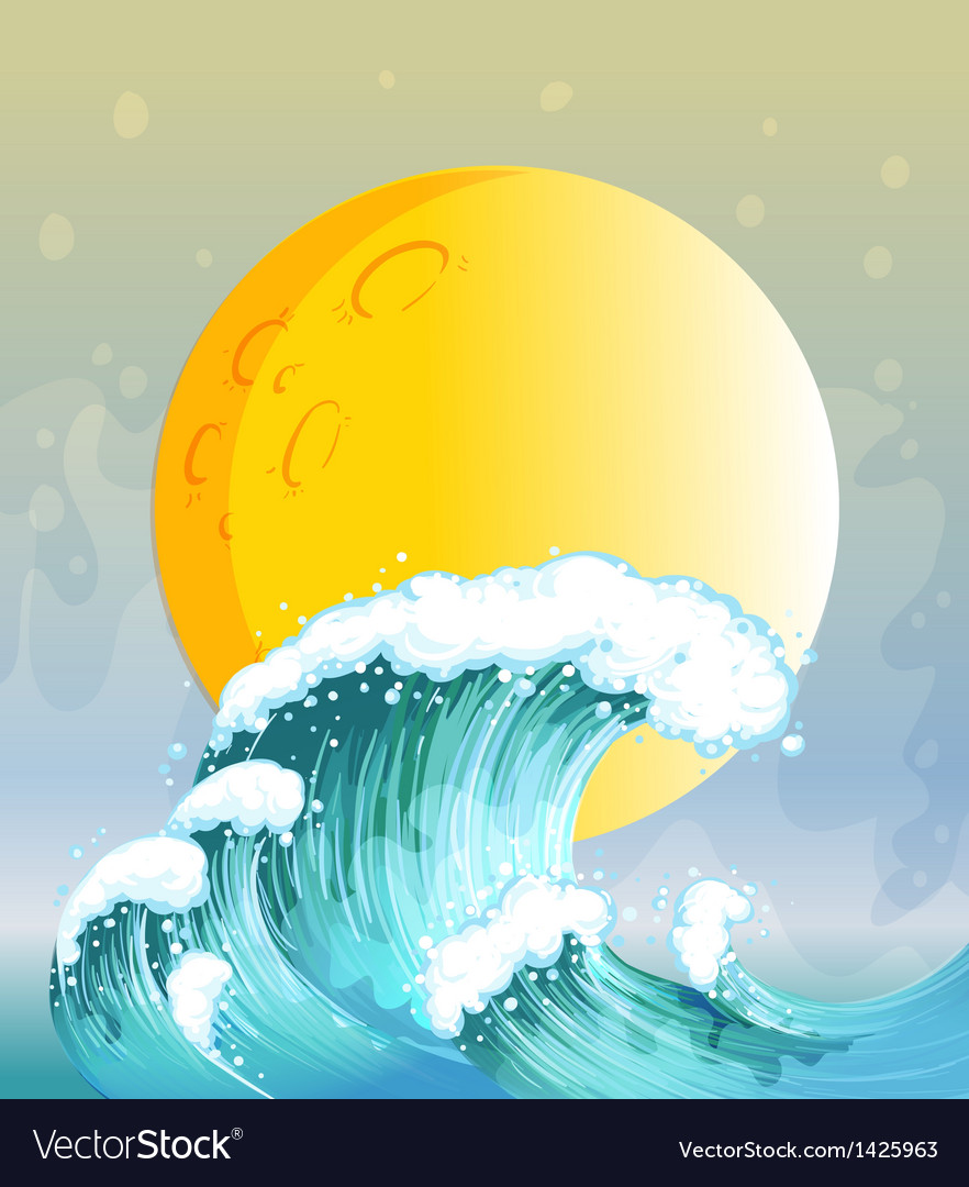 The big wave and the big sun vector | Price: 1 Credit (USD $1)
