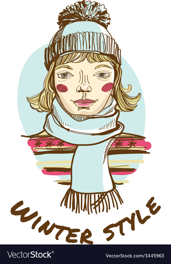 Blonde woman wearing striped sweater scarf and cap vector | Price: 1 Credit (USD $1)